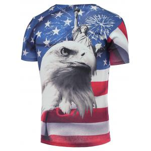 Cotton Blends 3D Eagle Star and Striped Print V-Neck Short Sleeve T-Shirt - COLORMIX 2XL