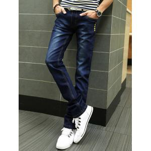 Buttons Design Zipper Fly Slim Fit Jeans -