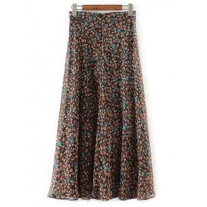 Casual Tiny Floral Print Chiffon Skirt -