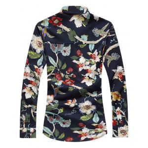 Plus Size 3D Flowers Print Turn-Down Collar Long Sleeve Shirt - COLORMIX 7XL