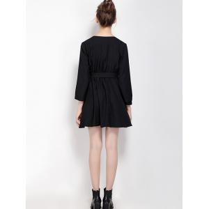 3/4 Sleeves High Waist Black Surplice Dress -