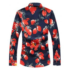 Plus Size 3D Florals Print Turn-Down Collar Long Sleeve Shirt - RED 7XL