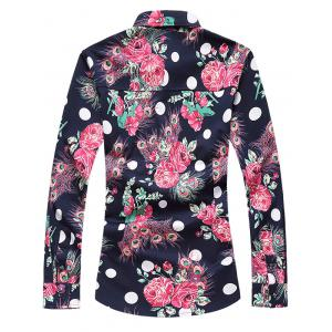 Plus Size 3D Roses and Peacock Feathers Print Turn-Down Collar Long Sleeve Shirt - CADETBLUE 7XL