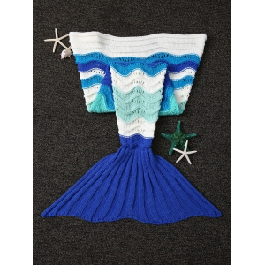 Wave Stripe Design Knitted Fish Tail Shape Blanket and Throws For Kid - COLORMIX
