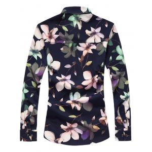 Plus Size 3D Floral Printed Turn-Down Collar Long Sleeve Shirt -