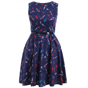 Plus Size Vintage Beauty Print Swing Dress -