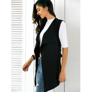 Turn Down Collar Sleeveless Belted Long Waistcoat -