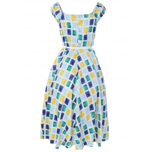 Oversized Colorful Plaid Print Pin Up Dress - BLUE/YELLOW/GREEN 3XL