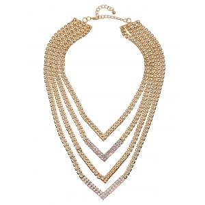 Alliage strass Layered V-forme de collier -
