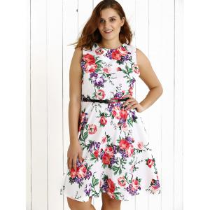 Plus Size Sleeveless Floral Swing Dress -