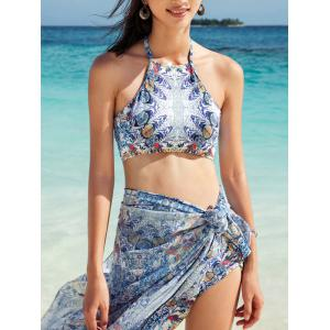 Paisley Print Hawaiian Tankini with Cover-Up Sarong Wrap - LIGHT GRAY XL