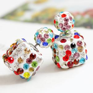 Pair of Rhinestone Square Ball Dual Earrings -