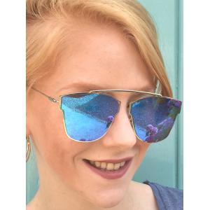 Chic Hollow Out Silver Metal Frame Mirror Sunglasses -