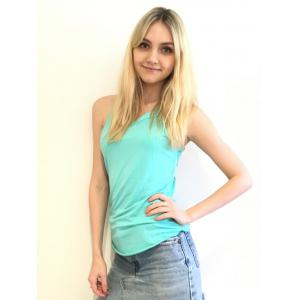 Endearing Round Neck Solid Color Cut Out Lace Spliced Backless Tank Top For Women -