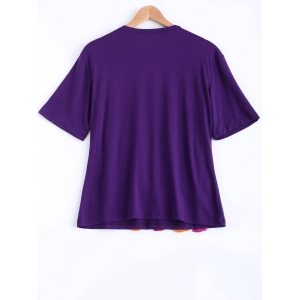 Cute Round Neck Half Sleeve Tassels Embellished T-Shirt For Women -