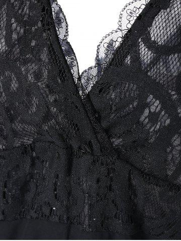 Outfits Plunging Lace Spliced Party Skater Club Dress - L BLACK Mobile