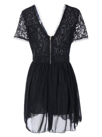Online Plunging Lace Spliced Party Skater Club Dress - L BLACK Mobile