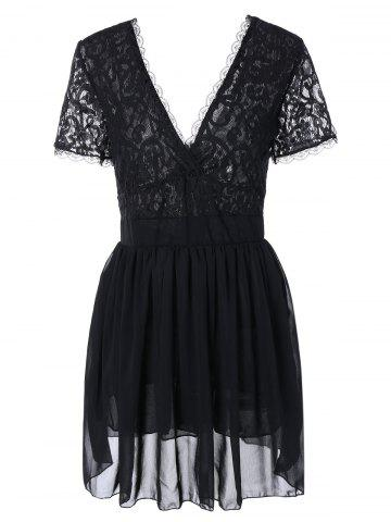 Plunging Lace Spliced Party Skater Club Dress - Black - S