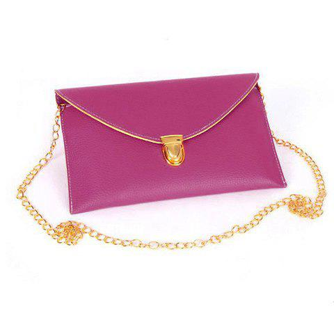 Discount New Fashion Women's Golden Chain Envelope Purse Clutch Synthetic Leather Handbag Shoulder Bag Dinner Party