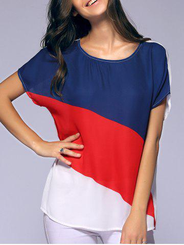 Chic Fashionable Batwing Sleeves Round Collar Printing Chiffon T-Shirt  For Women RED AND WHITE AND BLUE XL