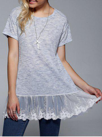 Sale Lace Splicing Short Sleeve T-Shirt