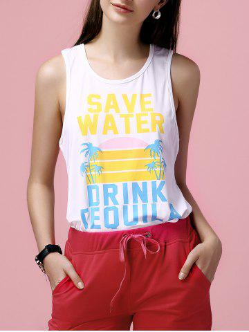 Outfits Casual Scoop Neck Print Loose Tank Top For Women