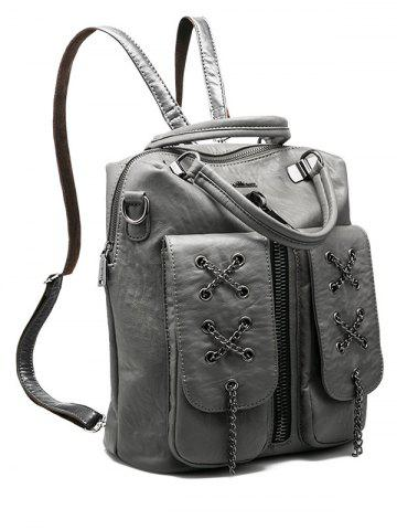 Buy PU Leather Zippers Chains Backpack - GRAY  Mobile