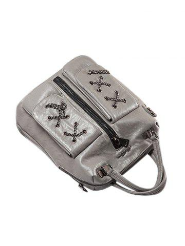 Hot PU Leather Zippers Chains Backpack - GRAY  Mobile
