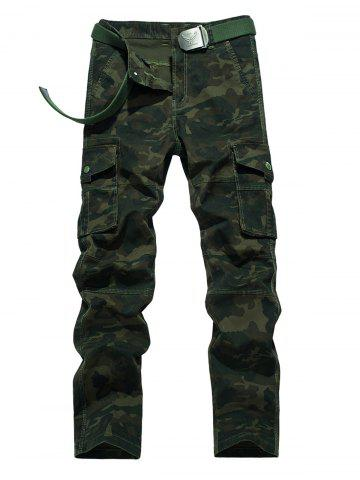 Chic Plus Size Zipper Fly Straight Leg Pockets Embellished Camouflage Cargo Pants ARMY GREEN 40