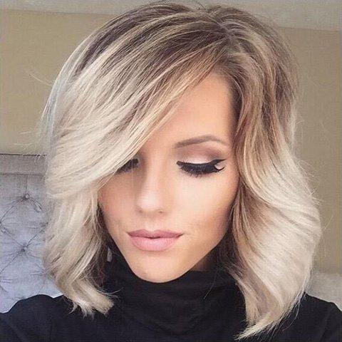 Shops Double Color Medium Side Parting Wavy Real Natural Hair Wig - COLORMIX  Mobile