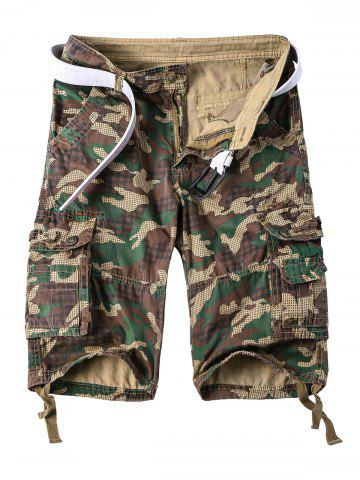 Best Straight Leg Multi-Pocket Lacing Hem Zipper Fly Camo Cargo Shorts For Men