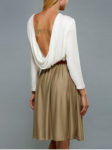 Outfit Long Sleeve Backless A Line Dress WHITE XL