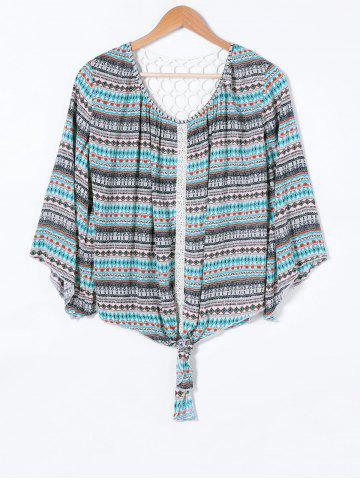 Hot Back Lace Splicing Ethnic Print Blouse