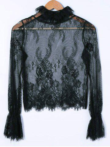 Fashion Lace See-Through Blouse BLACK ONE SIZE