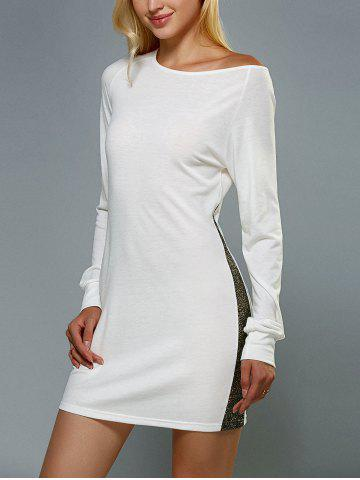 Sale Skew Neck Long Sleeve Mini Jersey Dress WHITE XL