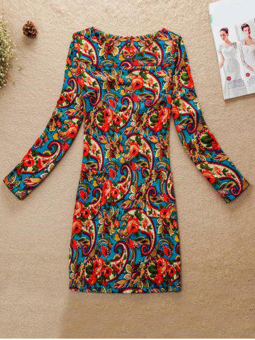 Chic Multicolor Pattern Jewel Neck Dress