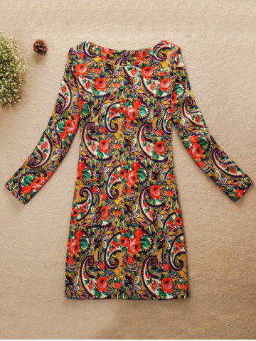 Affordable Multicolor Jewel Neck Dress COLORMIX M