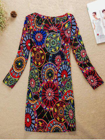 Affordable Colorful Round Pattern Jewel Neck Dress COLORMIX 4XL