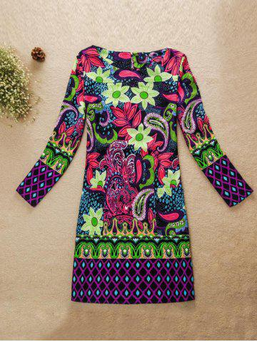 Sale Flower Pattern Jewel Neck Dress