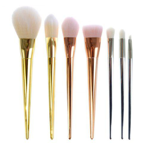 Fashion 7 Pcs Plating Handle Nylon Facial Eye Makeup Brushes Set