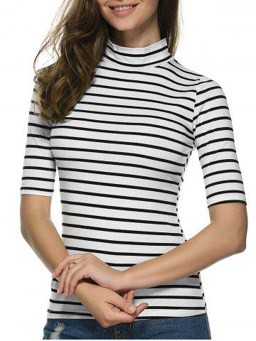 Discount Stand Neck Striped Slim T-Shirt