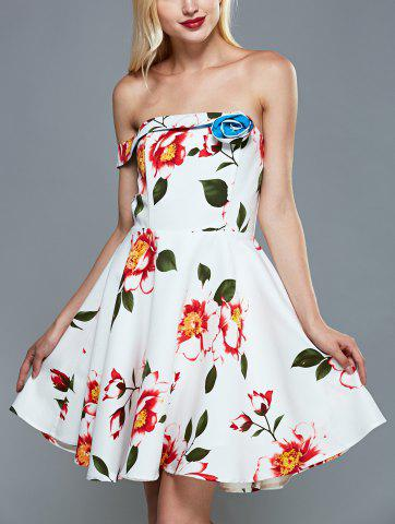 Off The Shoulder Floral Fit and Flare Cocktail Dress - White - S