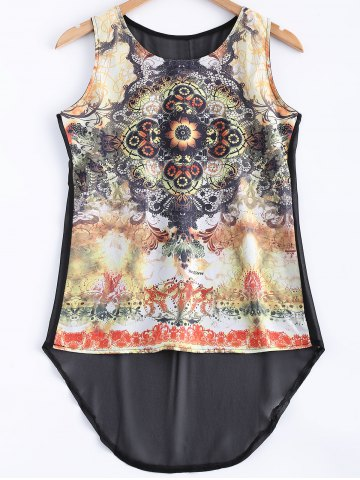 Latest Asymmetrical Printed See-Through Tank Top
