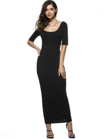 Chic U Neck Long Backless Fitted Evening Dress - XL BLACK Mobile