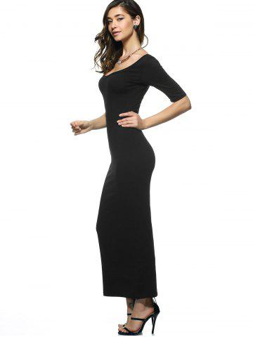 Trendy U Neck Long Backless Fitted Evening Dress - XL BLACK Mobile