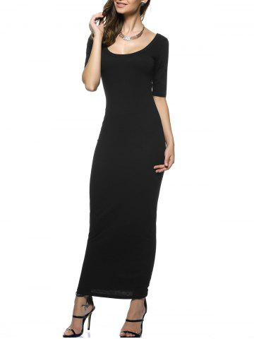Sale U Neck Long Backless Fitted Evening Dress BLACK XL