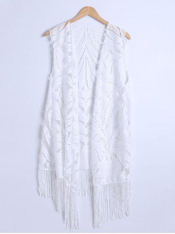Lace Fringed Cardigan Long Beach Kimono Cover Up - White - L