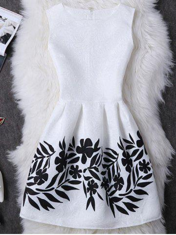 Trendy Concealed Zipper Leave Pattern Dress