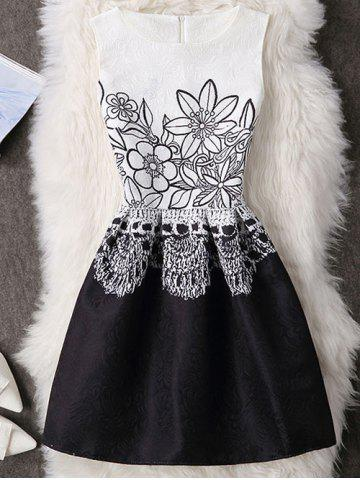 Store Floral Pattern High Waisted Zippered Dress WHITE S