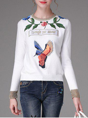 Store Floral and Bird Pattern Embroidery Sweater